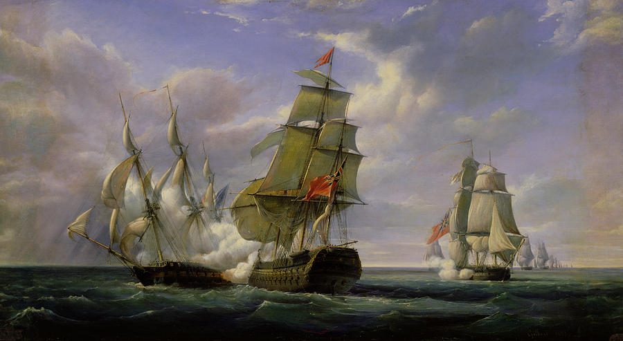 Combat Between The French Frigate La Canonniere And The English Vessel The Tremendous Painting  - Combat Between The French Frigate La Canonniere And The English Vessel The Tremendous Fine Art Print