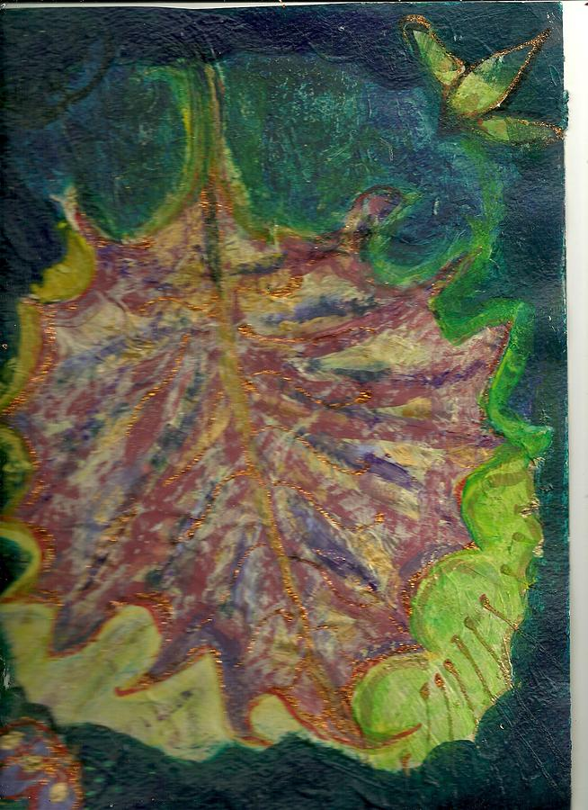 Coming To Me Floating Leaf  Painting  - Coming To Me Floating Leaf  Fine Art Print