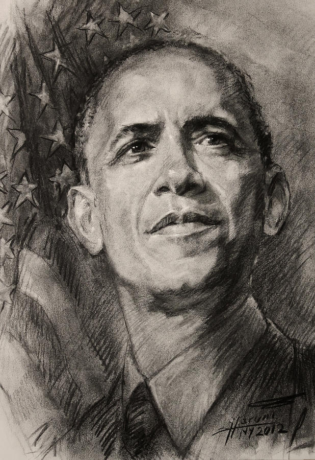 Barack Obama Drawing - Commander-in-chief by Ylli Haruni