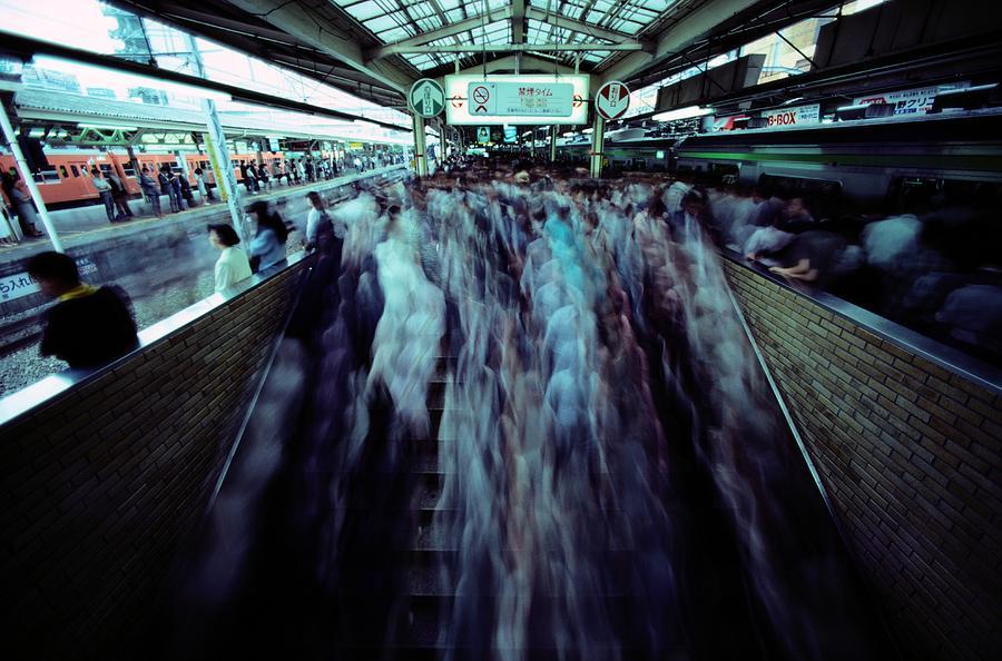 Commuters Crowd A Subway Platform Photograph