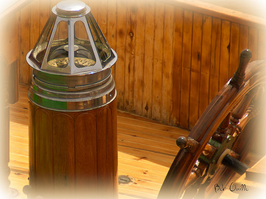 Compass And Bright Work Old Sailboat Photograph