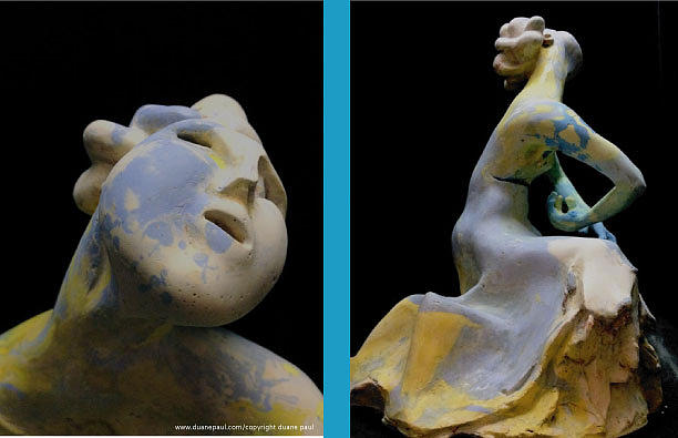 Figurative Sculpture - Compensation-spotted Blue-yellow-white by Duane Paul