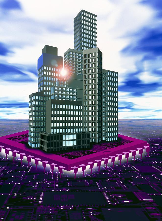 Computer Art Of Future City Floating On Microchip Photograph