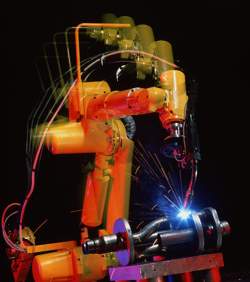 Computer-controlled Electric Arc-welding Robot Photograph  - Computer-controlled Electric Arc-welding Robot Fine Art Print