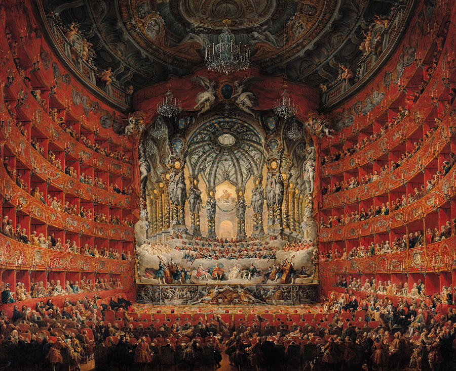 Concert Given By Cardinal De La Rochefoucauld At The Argentina Theatre In Rome Painting  - Concert Given By Cardinal De La Rochefoucauld At The Argentina Theatre In Rome Fine Art Print