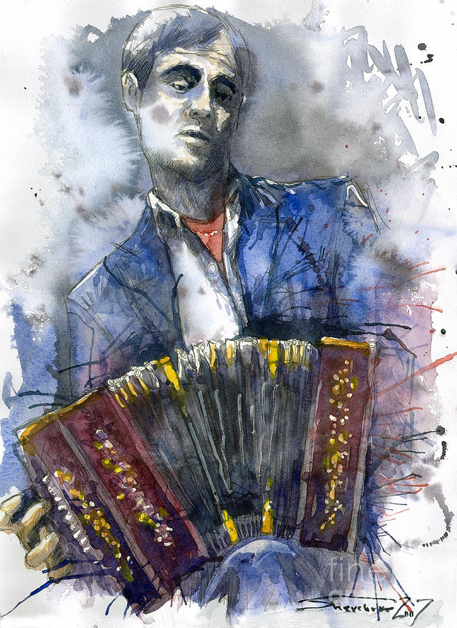 Concertina Player Painting  - Concertina Player Fine Art Print