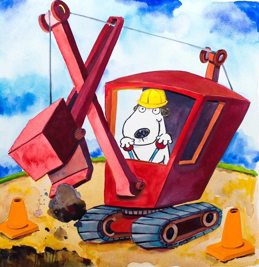 Construction Dogs 2 Painting  - Construction Dogs 2 Fine Art Print