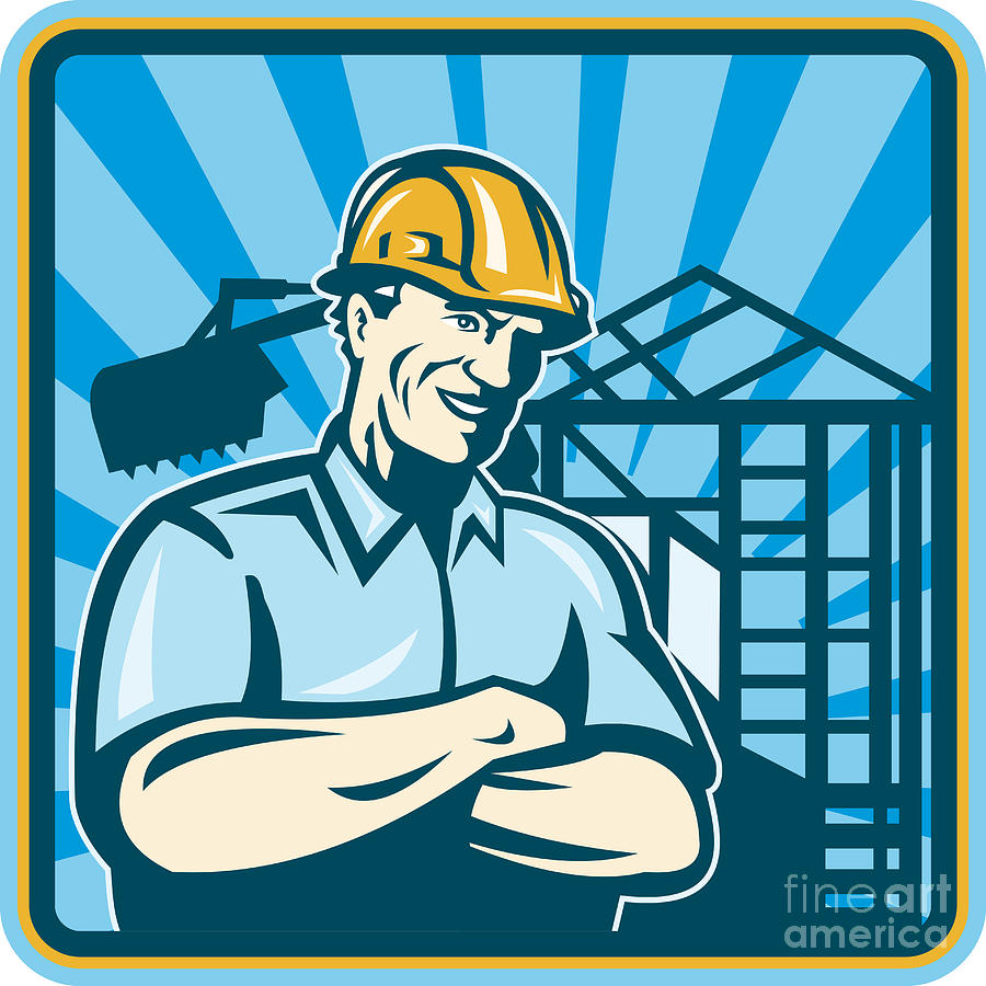 Construction Engineer Foreman Worker Digital Art  - Construction Engineer Foreman Worker Fine Art Print