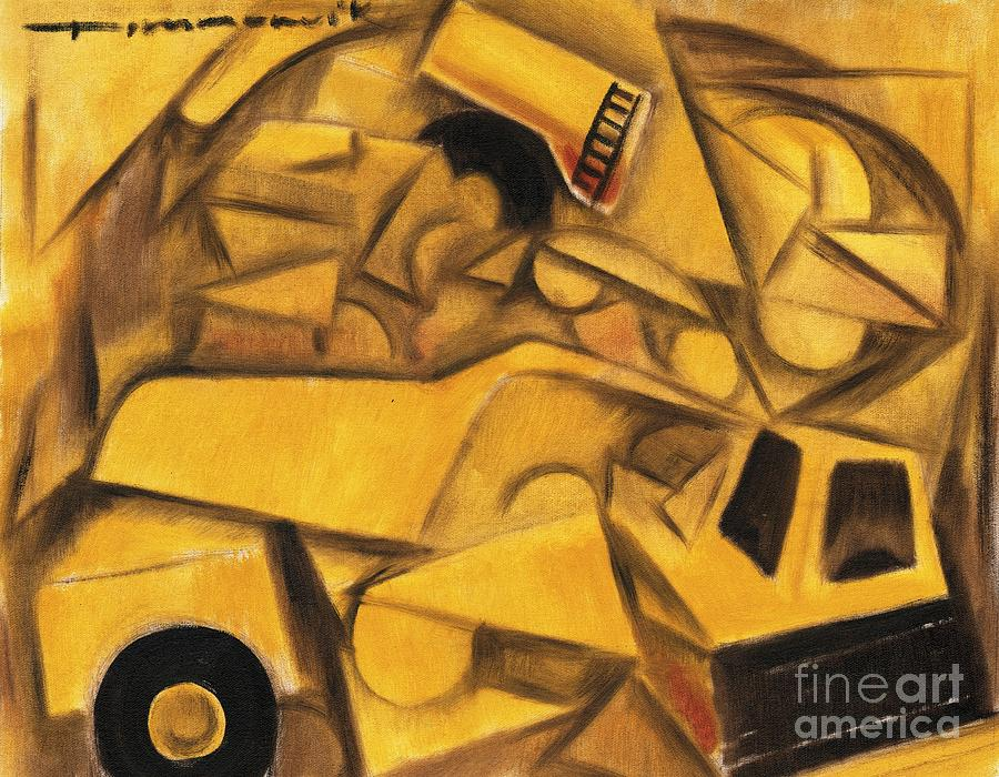 Construction Truck  Painting  - Construction Truck  Fine Art Print