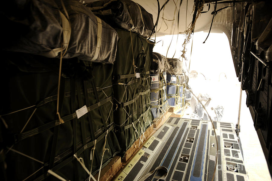 Operation Enduring Freedom Photograph - Container Delivery System Bundles Drop by Stocktrek Images