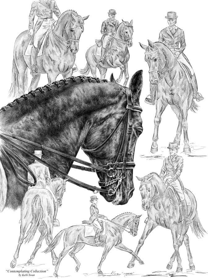 Contemplating Collection - Dressage Horse Drawing Drawing