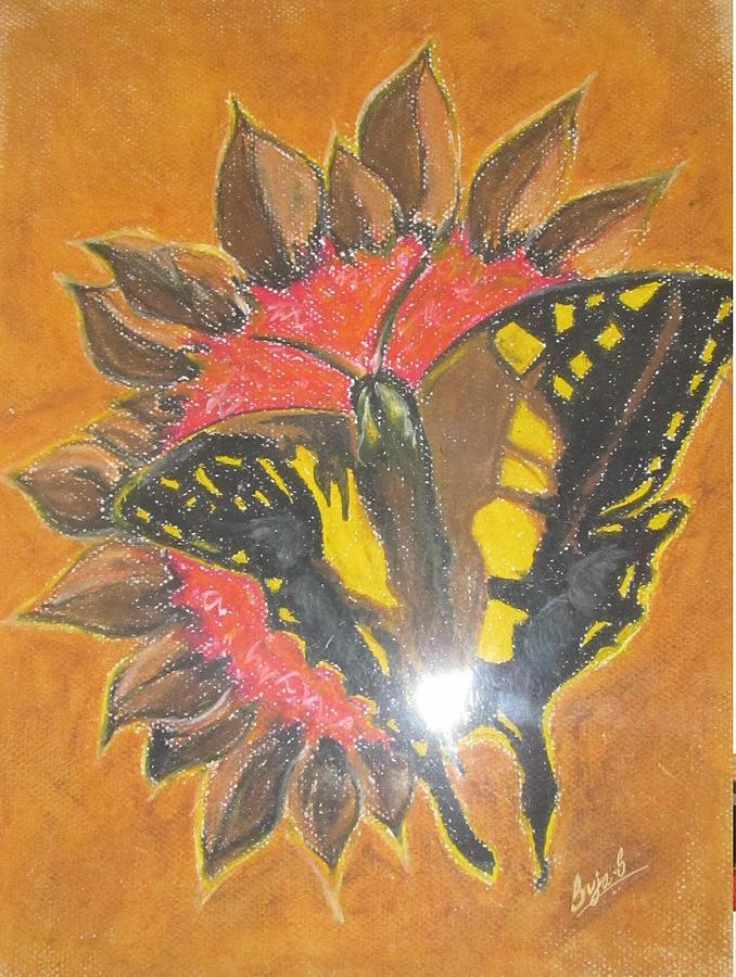 Contemporary Art Butterfly Pastel by Suja Mithun