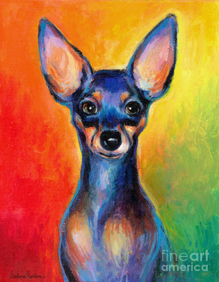 Contemporary Colorful Chihuahua Chiuaua Painting Painting