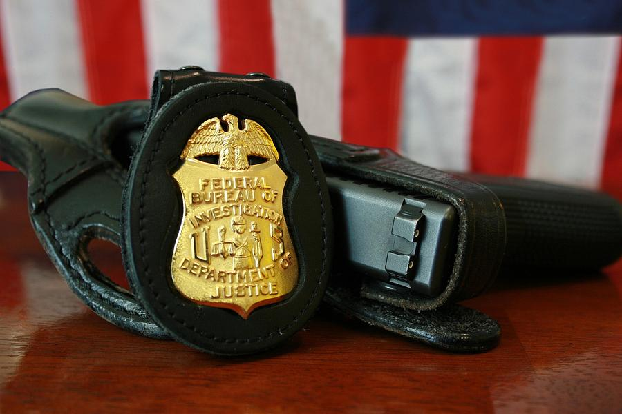 Contemporary Fbi Badge And Gun Photograph