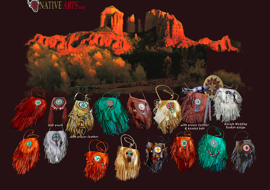 Contemporary fringed medicine bags mixed media