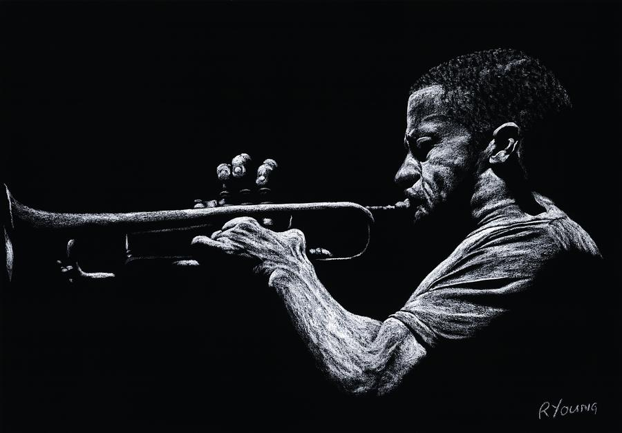 Contemporary Jazz Trumpeter Pastel  - Contemporary Jazz Trumpeter Fine Art Print