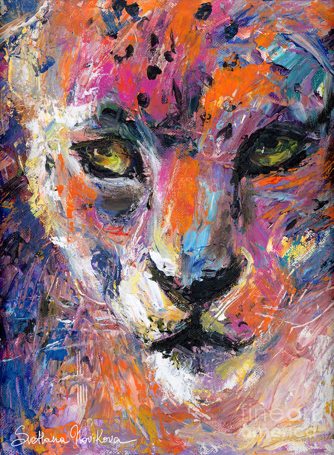 contemporary Wildlife painting cheetah leopard  Painting