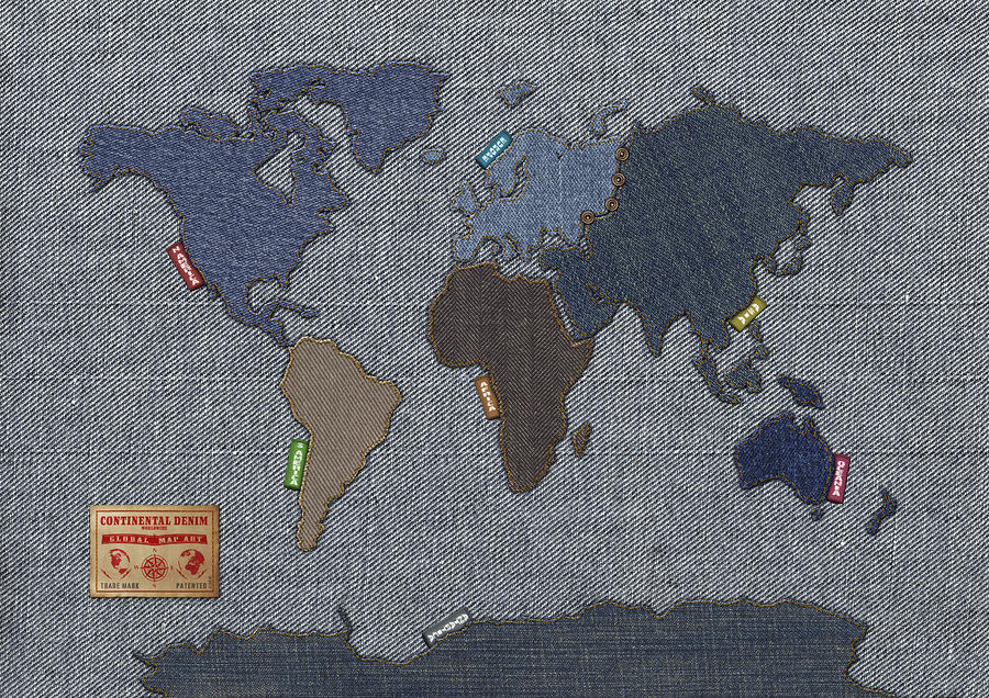 Continental Denim World Map Digital Art