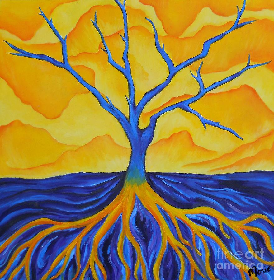Contrasting tree painting by nicole mittelbrunn - Contrast color with yellow ...