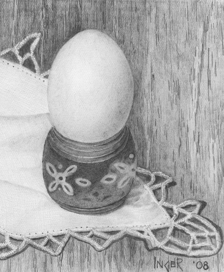 Cooked Egg With Napkin Drawing  - Cooked Egg With Napkin Fine Art Print