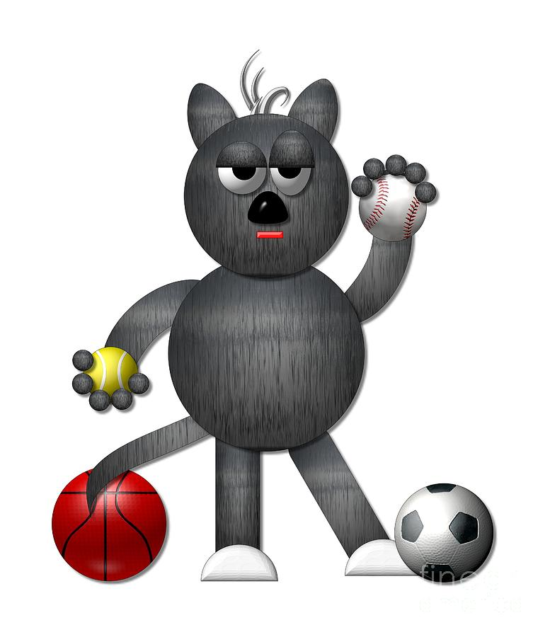 Cats Digital Art - Cool Alley Cat Athlete by Rose Santuci-Sofranko