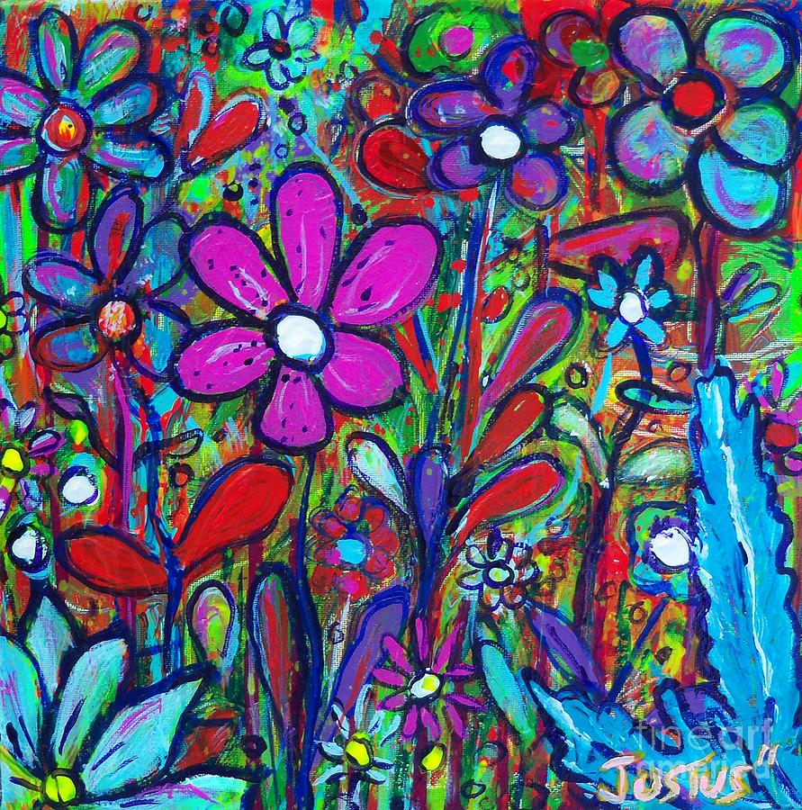 Cool colored floral painting cool colored floral fine for Cool paintings for sale