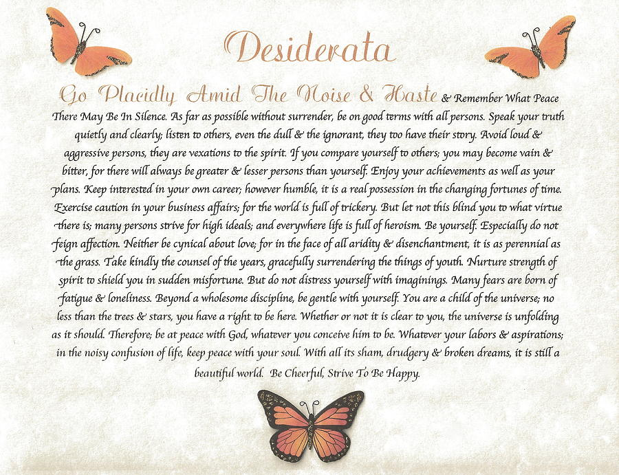 Copper Butterfly Desiderata Mixed Media  - Copper Butterfly Desiderata Fine Art Print