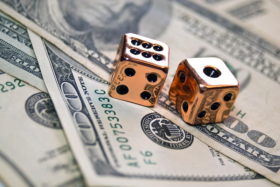 Copper Dice And Money Photograph  - Copper Dice And Money Fine Art Print
