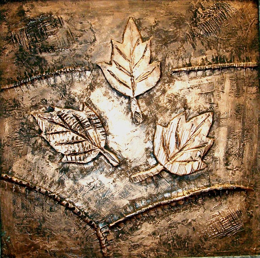 Copper Leaves Embossed Painting  - Copper Leaves Embossed Fine Art Print