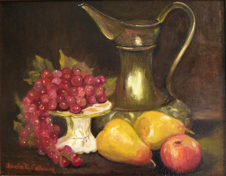 Still Life Painting - Copper Pitcher With Fruit by Aurelia Nieves-Callwood