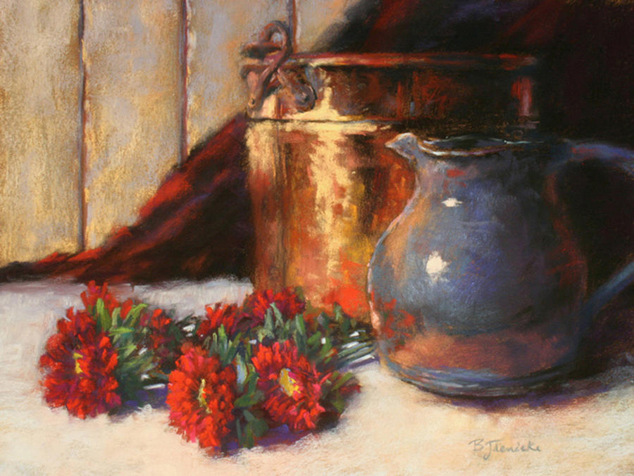 Copper Pot Pitcher And Flowers Pastel  - Copper Pot Pitcher And Flowers Fine Art Print