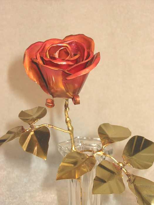 Copper Rose With Brass Leaves.  Sculpture