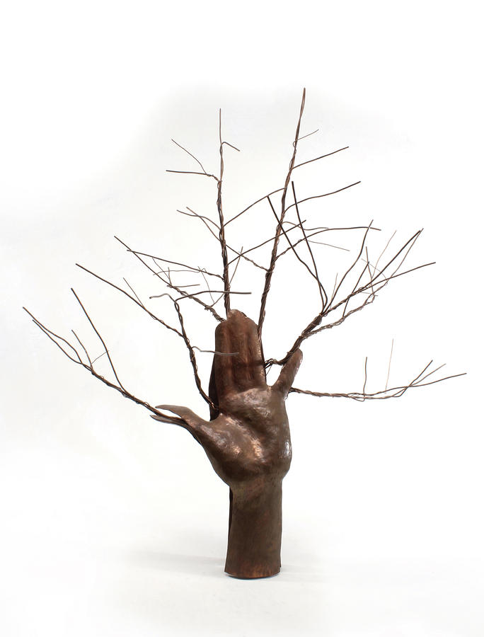 Copper Tree Hand A Sculpture By Adam Long Sculpture  - Copper Tree Hand A Sculpture By Adam Long Fine Art Print