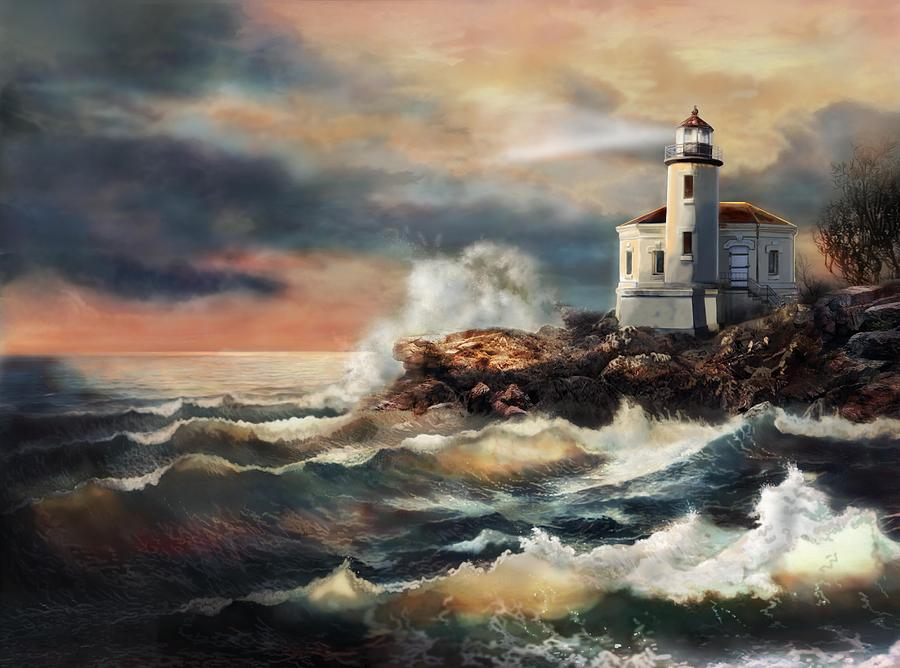 Coquill Oregon Lighthouse At Sunset Painting  - Coquill Oregon Lighthouse At Sunset Fine Art Print