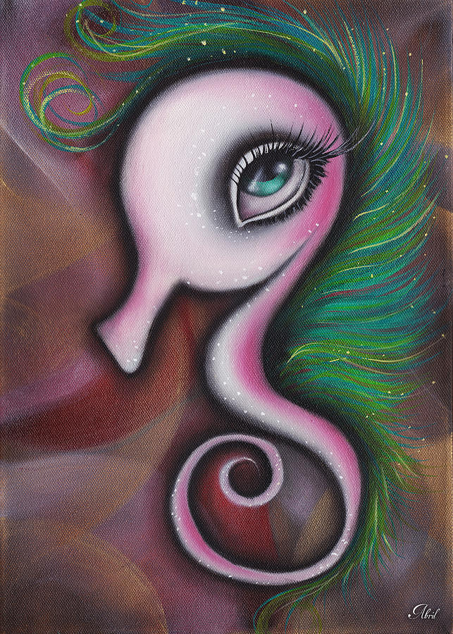 Seahorse  Painting - Coral by  Abril Andrade Griffith