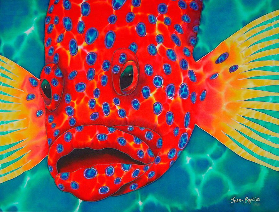 Coral Grouper Painting  - Coral Grouper Fine Art Print