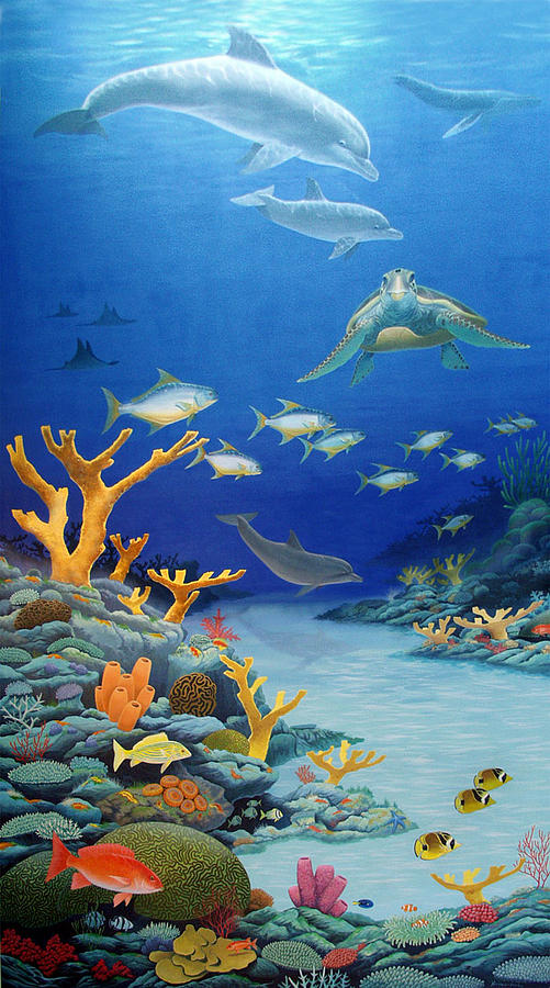 Coral reef mural by fred neveu for Coral reef mural