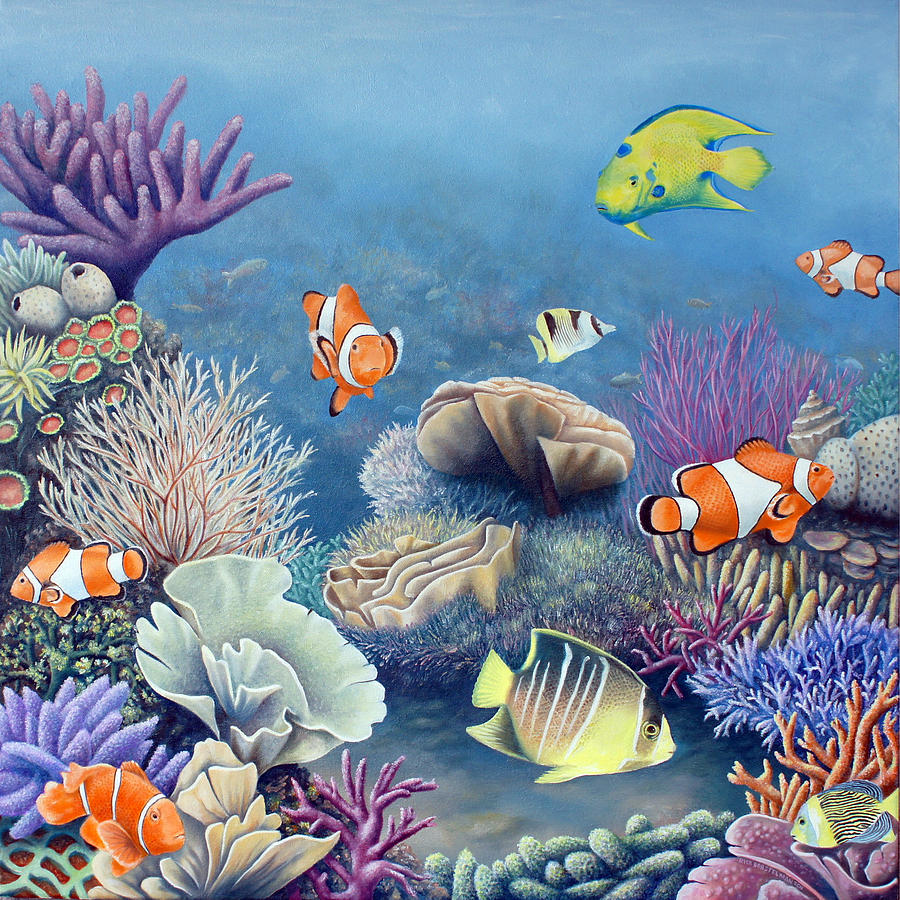 Coral Reef Painting by Rick Borstelman