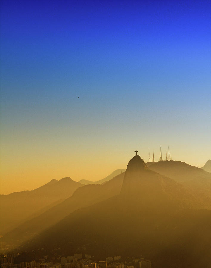 Corcovado Mountain And Christ Redeemer At Sunset Photograph  - Corcovado Mountain And Christ Redeemer At Sunset Fine Art Print