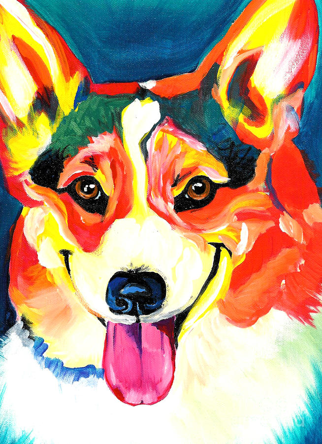 Corgi - Chance Painting  - Corgi - Chance Fine Art Print