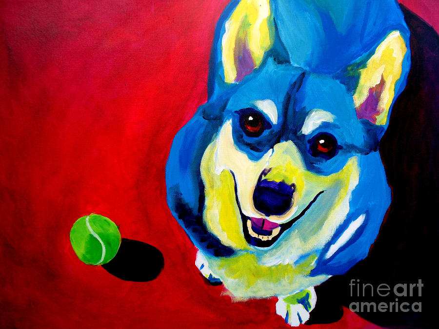 Corgi - Play Ball Painting  - Corgi - Play Ball Fine Art Print