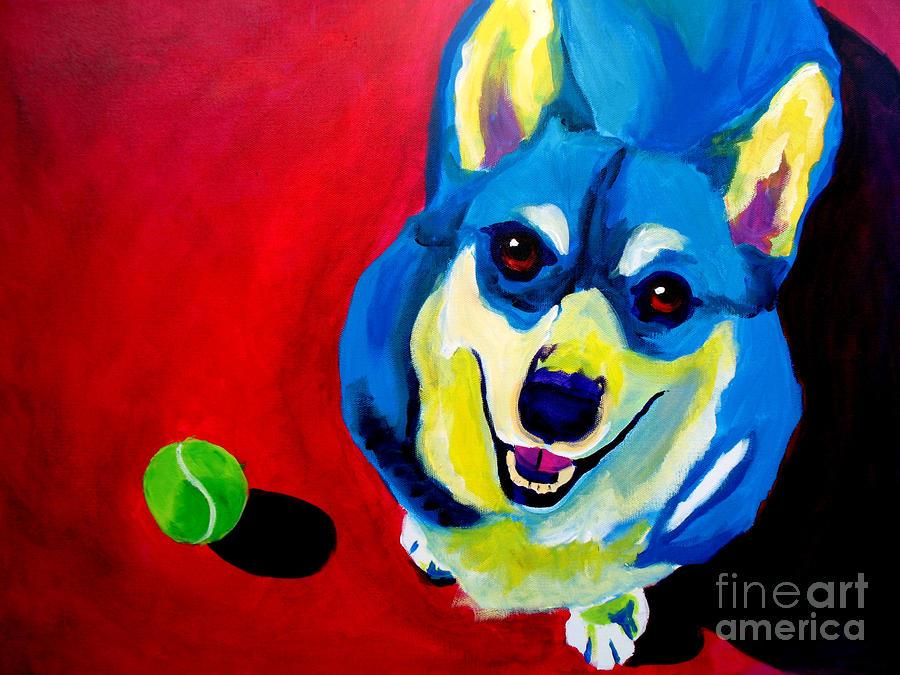 Corgi - Play Ball Painting