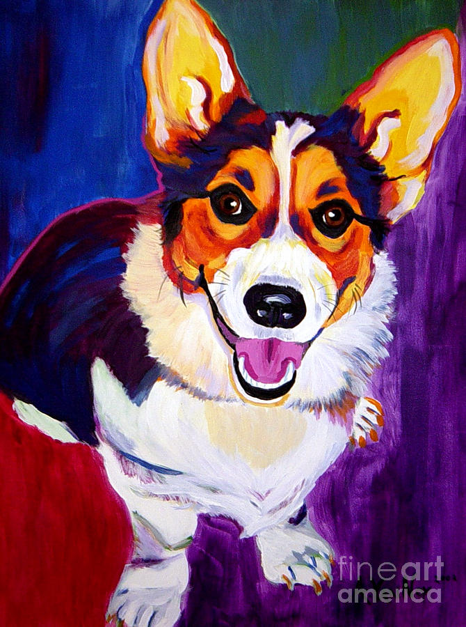 Corgi - Taste The Rainbow Painting  - Corgi - Taste The Rainbow Fine Art Print