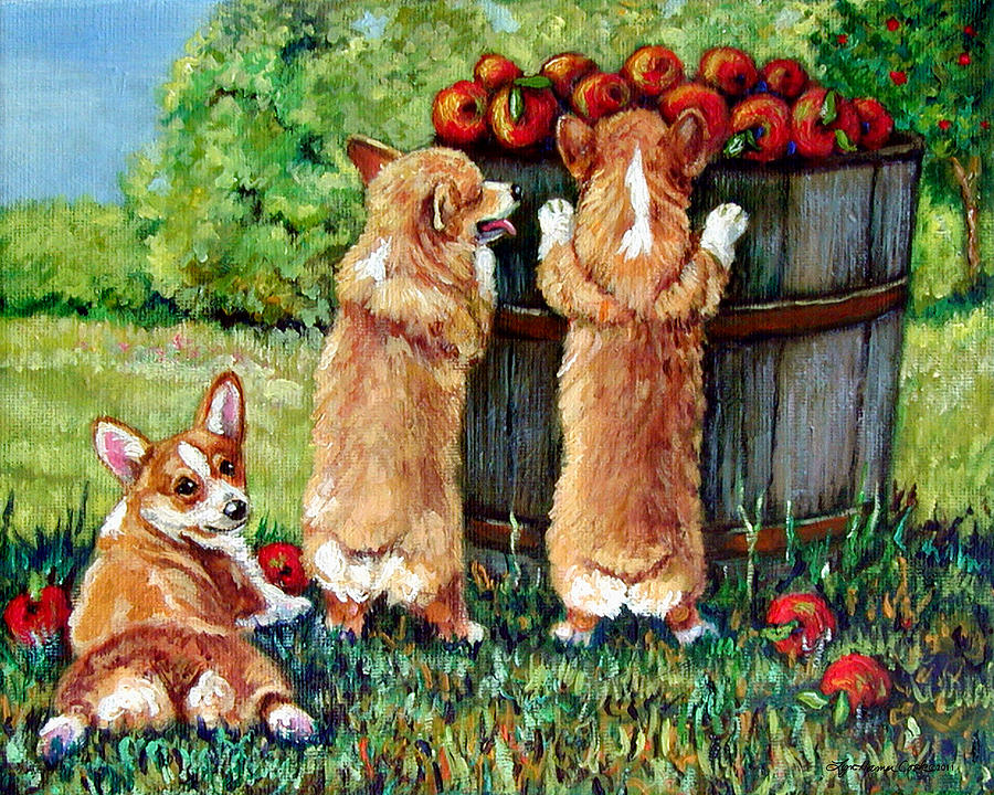 Corgi Apple Harvest Pembroke Welsh Corgi Puppies Painting  - Corgi Apple Harvest Pembroke Welsh Corgi Puppies Fine Art Print