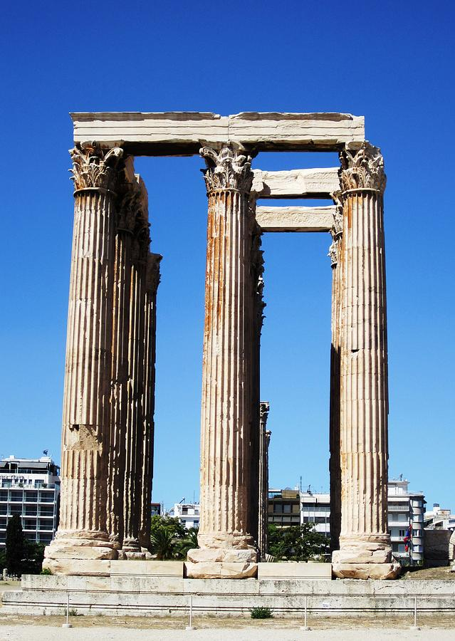 Temple Of Olympian Zeus Ancient Ornate Greek Architecture Athens