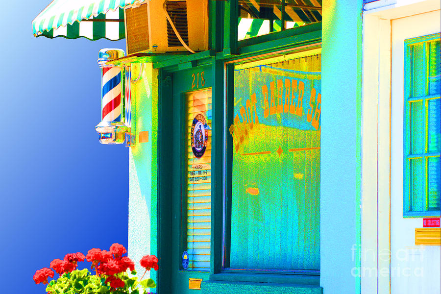 Corner Barber Shop Photograph  - Corner Barber Shop Fine Art Print