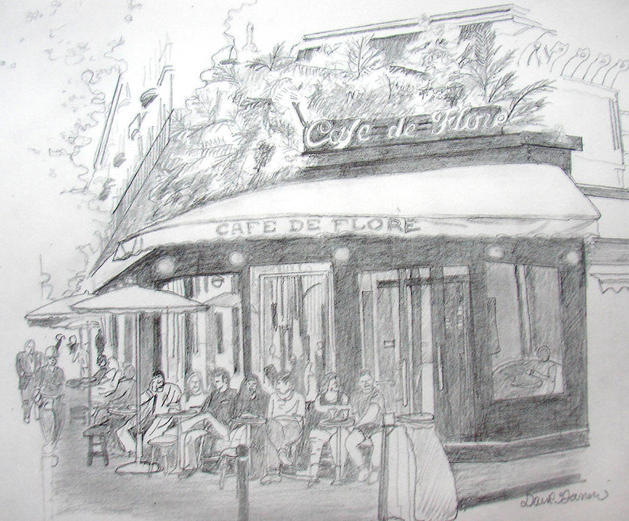 Corner Cafe Drawing by David Garren