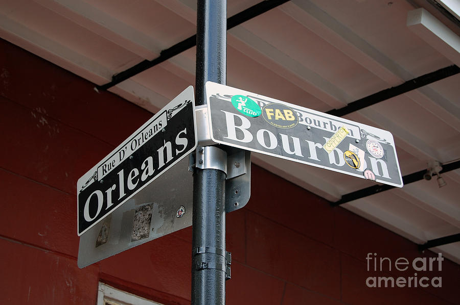 Corner Of Bourbon Street And Orleans Sign French Quarter New Orleans Photograph