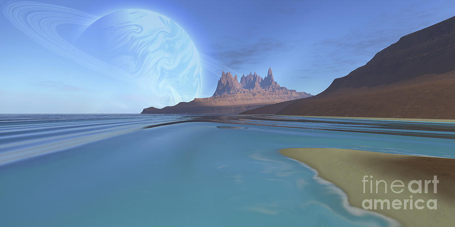Solar System Digital Art - Cosmic Seascape On Another Planet by Corey ...