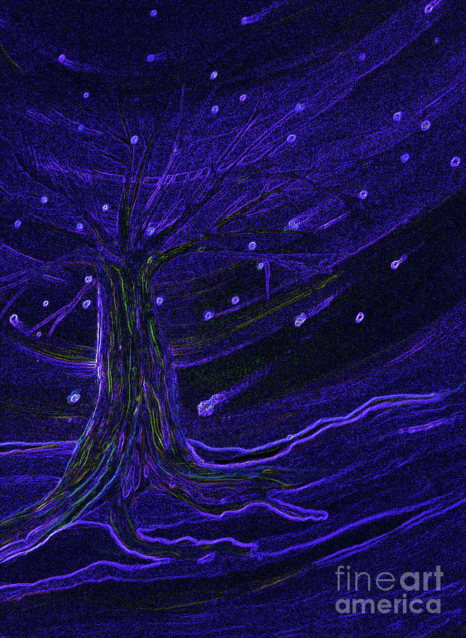 Cosmic Tree Blue Painting